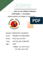 Francisco Valencia Informe 1(Uso Del Multimetro)