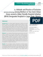 The Knowledge, Attitude and Practice of Exclusive Breastfeeding among Mothers in Two Semi-Urban Areas around a Baby Friendly Hospital Initiative (BFHI) designated Hospital in Lagos State, Nigeria