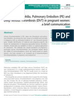 Thrombophilia, Pulmonary Embolism (PE) and Deep Venous Thrombosis (DVT) in pregnant women