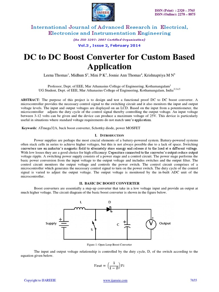 Dc Boost Converter For Custom Application By Leena Power Supply Analog To Digital