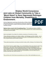SAIRI Report Shakes World Conscience and Calls on Global Community to Take a 'Moral Stand' to Save Oppressed Rohingya Children From Mortality