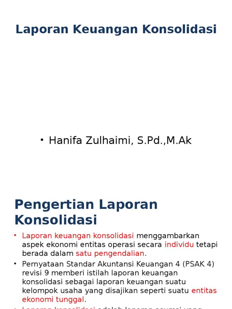 1 Laporan Keuangan Konsolidasi