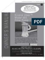 Intex Metal Frame Pool Set - Krystal Clear Model 603 Filter Pump - Owner's Manual