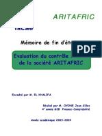 Evaluation Du Contrôle Interne de La Société ARITAFRIC