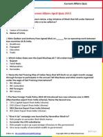 Current Affairs April Quiz 2015