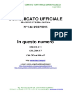 Stagione 2015/2016 - Comunicato n. del 27.07.'15