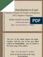 A Short Introduction To Logic Eugene 2002