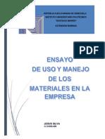 Ensayo Uso y Manejo de Materiales en La Empresa Jesus Silva
