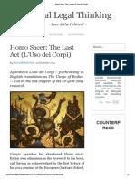 Homo Sacer_ the Last Act (L'Uso Dei Corpi)