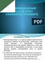 Entrepreneurship Skills in Post Graduate's Students