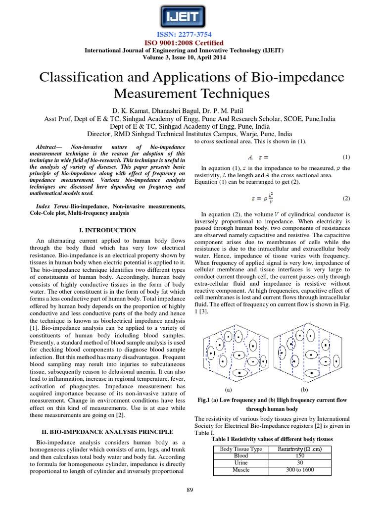Bio-impedance Measurement Techniques | Electrical Impedance