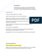Plano de Aula e Projetos de Informática
