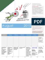 Planer und Notizen für August