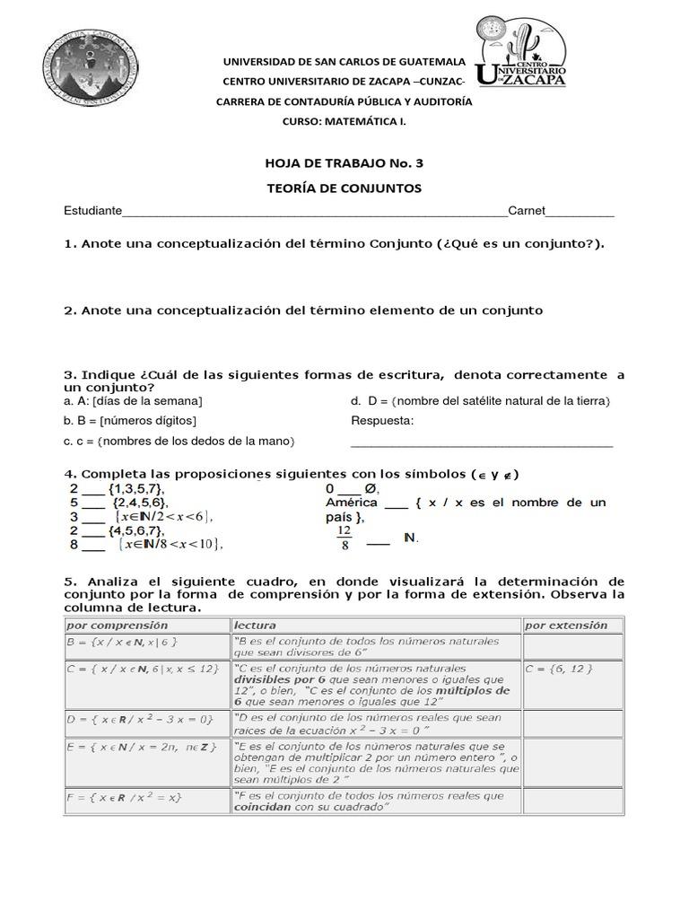Hoja de Trabajo No. 3_Teoria de Conjuntos