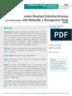 Carbapenem-Resistant Enterobacteriaceae Co-Infections with Klebsiella; a Retrospective Study