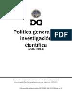 Plan 2007-2010 Politica de Investigacion USAC
