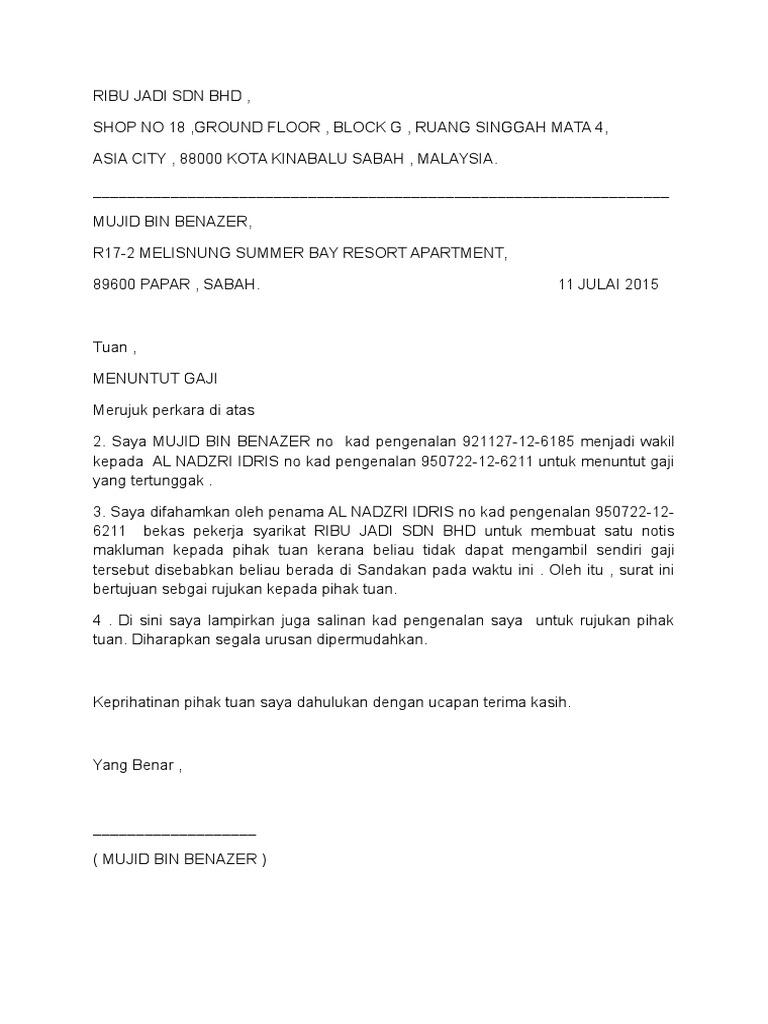 Surat Rasmi Tuntutan Gaji