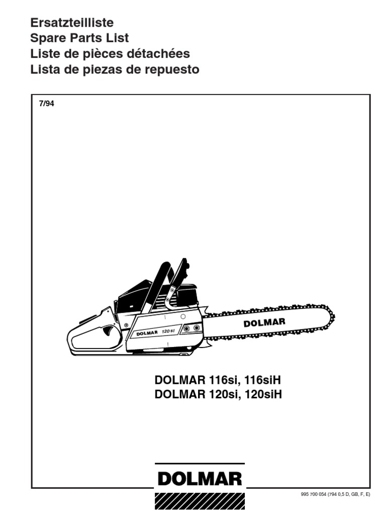 dolmar parts manual for chainsaw models 116si