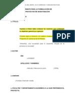 FORMATO PARA LA FORMULACIÓN DE PROYECTOS DE INVESTIGACIÓN