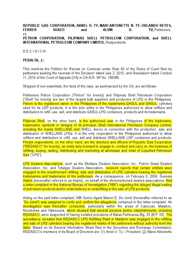 Regas Co digest | Trademark | Certiorari