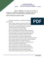 30-01-2003 Disc. Do Presidente Da Republica- Luiz Inacio Lula Da Silva- Na Cerim. de Lancamento Inst. Do Programa Fome Zero