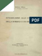 Introduzione Allo Studio Della Romania e Dei Romeni - N. Iorga