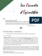 Les Carnets d'Épiméthée – Août 2015