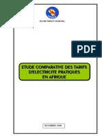 Etude Comparative Des Tarifs Dylectricity Pratiquys en Afrique