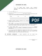 Affidavit of Lost