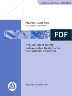 ISA84.01 Application of Safety Instrumented Systems for the Process Industries