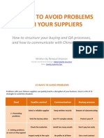 15 Ways to Avoid Problems With Your Suppliers
