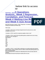 BSOP 209 Operations Analysis_ Week 2 Regression, Correlation, And Forecast Week 4 Waiting-Line Models and Week 6 Quiz