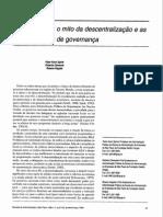 Governo Local. o Mito Da Descentralização e as Novas Práticas de Governança