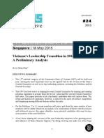 Iseas Perspective 2015 24 Vietnam Leadership Transition in 2016