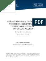 ANÁLISIS TÉCNICO-ECONÓMICO DE UN SISTEMA HÍBRIDO DE BAJA POTENCIA EÓLICO SOLAR CONECTADO A LA RED