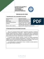 Programa de Curso Matematica Aplicada Maestria en Administraci--n Financiera