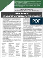 Congresistas, intelectuales, dirigentes gremiales y sociales, organizaciones internacionales, se pronuncian contra la privatización de SEDAPAL.