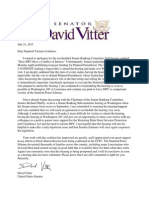 July 2015 Letter from Senator Vitter to Stanford Victims Coalition