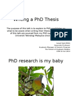 Writing a PhD Thesis 2014