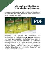 El Té Verde Podría Dificultar La Digestión de Ciertos Alimentos