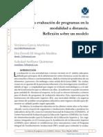 La Evaluación de Programas en La Modalidad a Distancia. Reflexión Sobre Un Modelo