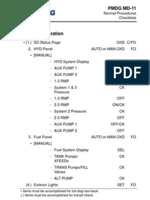 PMDG MD-11 Normal Checklists | Aviation | Aircraft