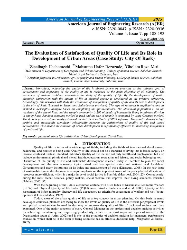 The Evaluation of Satisfaction of Quality Of Life and Its