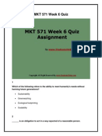MKT 571 Week 6 Quiz Assignment