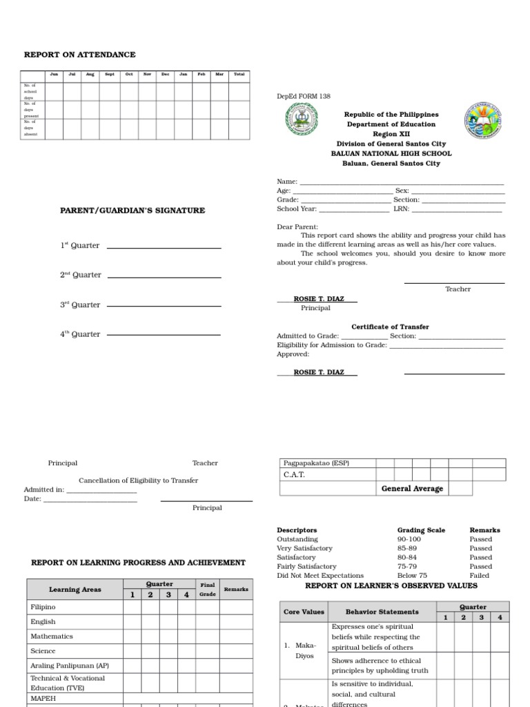 Form 138 Template 2015 2016 Psychological Concepts Psychology Cognitive Science