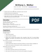 resume brittany lynn walker 2014-15