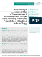 A Comparative Study of Intelligence in Children of Consanguineous and Non-consanguineous Marriages and its Relationship with Holland's Personality Types in High School Students of Tehran