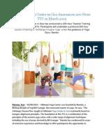 Abhinam Yoga Center in Goa Announces 200 Hour TTC in March 2015