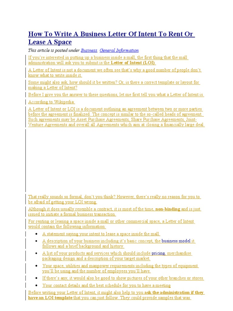 Letter of Intent to Rent or Lease a Space – Letter of Intent to Do Business Together