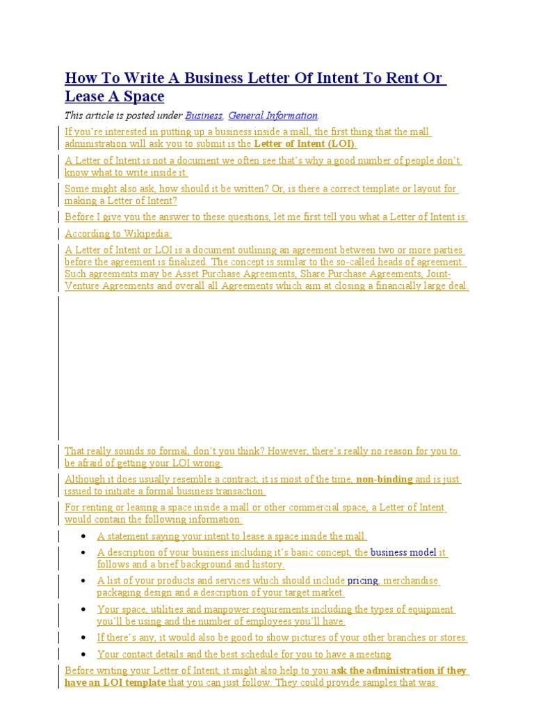 Doc707951 Loi Samples Letter of Intent Sample Writing – Sample Letter of Intent to Lease